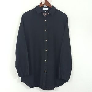 Soft Surroundings 100% Linen Black Button Up Top M
